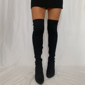 nine west over the knee heeled sock boots
